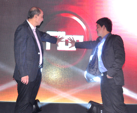 PLDT's Nazareno (left) and Fermin during the launch