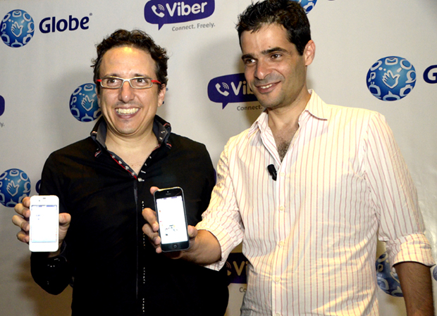 In this file photo, Viber CEO Talmon Marco (right) is shown with Globe senior advisor for consumer business Peter Bithos during the launch of their partnership in July 2013