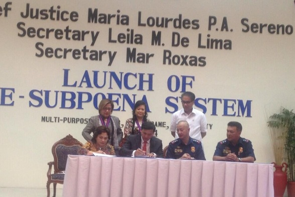 The MOA on the e-Subpoena system is signed by Court Administrator Midas Marquez and PNP deputy chief Leonardo Espina. Photo credit: SC