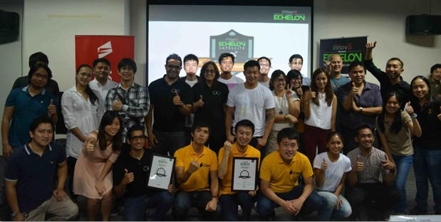 The Yoyo Holdings team (1st row, middle) triumphs over other local start-ups to compete in the Echelon 2014 main stage in Singapore