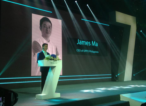 Oppo PH chief James Ma delivering his speech during the launch