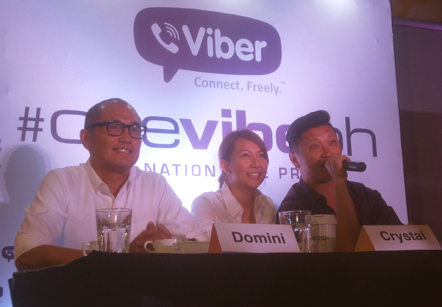 (From left) Domini Primero, Crystal Lee, and Stephen Ku announce the #OneVibePH gig