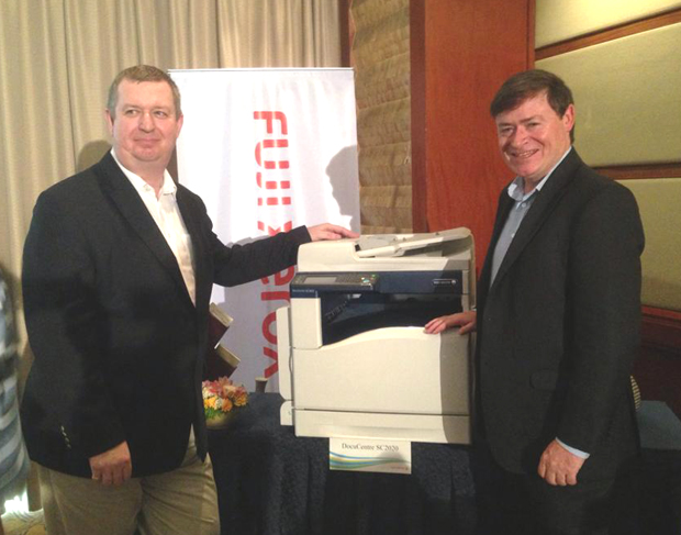 Photo shows Fuji Xerox printer product planning and sourcing manager for the Asia Pacific and China region Michael Johnson (left), and Fuji Xerox printer channel president for Asia Pacific James Henderson