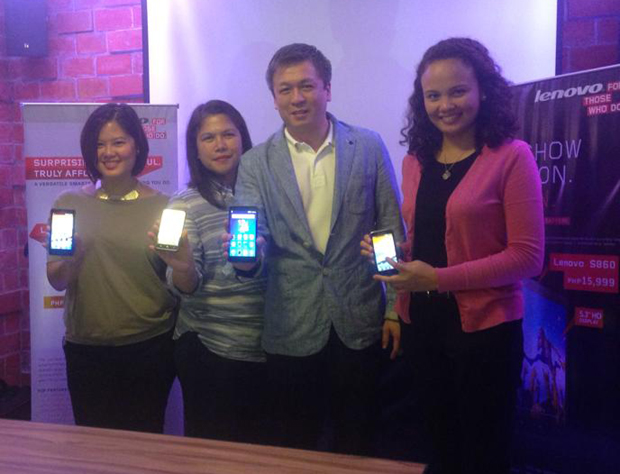 Lenovo PH officials led by country manager Michael Ngan (2nd from right) show off the new smartphones