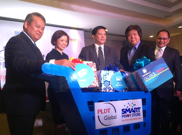 Tops officials from PLDT, Samsung Philippines, and SM relaunch the Smart Pinoy Store on Tuesday