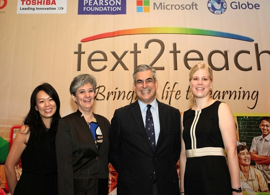 Photo shows Mei-Ling Tan, Microsoft Devices sustainability manager; Dina Ocampo, DepEd underscretary for programs and projects; Jaime Augusto Zobel de Ayala, chairman and CEO of Ayala Corporation; and Sanna Eskelinen, global lead for social investment of Microsoft Devices at the 10th anniversary celebration of Text2Teach
