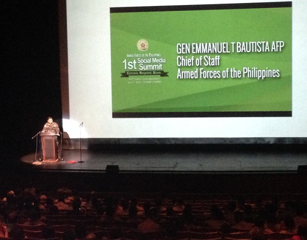 "AFP chief of staff Emmanuel, who is known is social media circles as ""Manny Sundalo,"" giving his speech at the event"