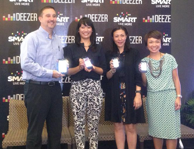 Photo shows (from left) Steven Frank, Deezer business development manager for Asia Pacific; Dona Inthaxoum, Deezer label relations head for Asia and Oceania; Melissa Limcaoco, innovation and product development group head at Smart Communications; and Kathryn Carag, postpaid marketing head at Smart