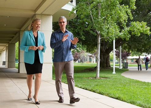 IBM chief Ginni Rometty (left) and Apple CEO Tim Cook