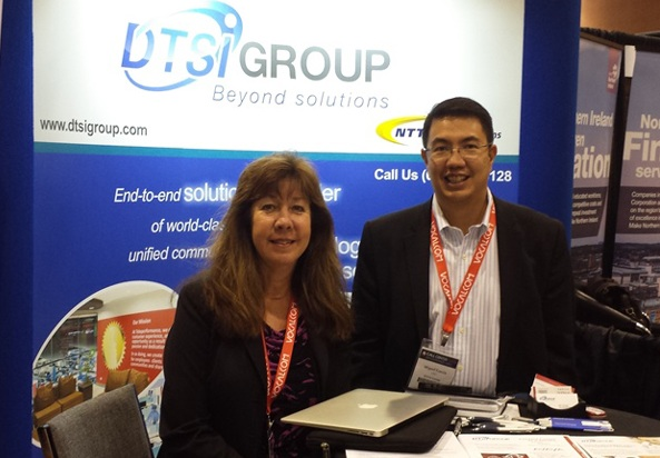 Photo shows Karen Christensen, DTSI USA vice president for business development (left) and Miguel Garcia, DTSI Group president and CEO, during the 15th Annual Call Center Week held in Las Vegas