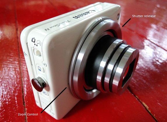 The outer lense serve as physical shutter release, while the inner lense serves as zoom control