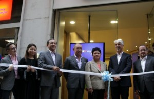 Globe executives and government officials gather on the opening of the Globe Store in Italy