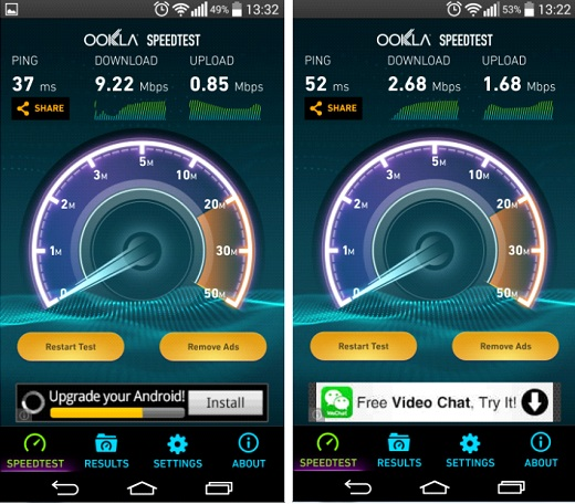 Result from the newer MF93D 4G LTE (left) and from the older 3G only ZTE MF63