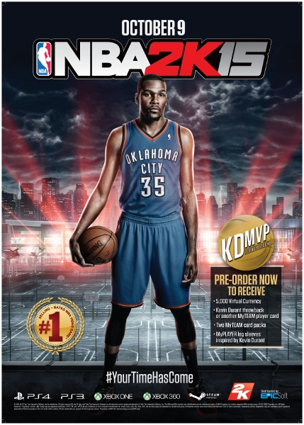 Kevin Durant, on the cover of NBA 2K15