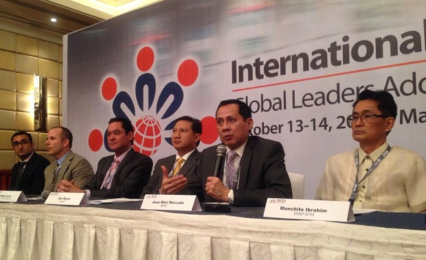 IBPAP chief Jomari Mercado (2nd from right) speaks during the press briefing for the International IT-BPM Summit at the Makati Shangri-La Hotel. With him are execs from the BPO and the public sectors