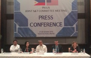 Photo shows (from left) House committee on science and technology chair Victor Yu, DOST secretary Mario G. Montejo, DOST undersecretary Amelia Guevarra, US ambassador Philip Goldberg, and US State Department's director of the Office of Science and Technology Cooperation Jennifer Haskell