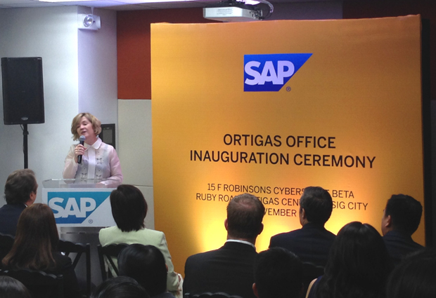 Adaire Fox-Martin, president of SAP Asia Pacific Japan, speaks during the unveiling