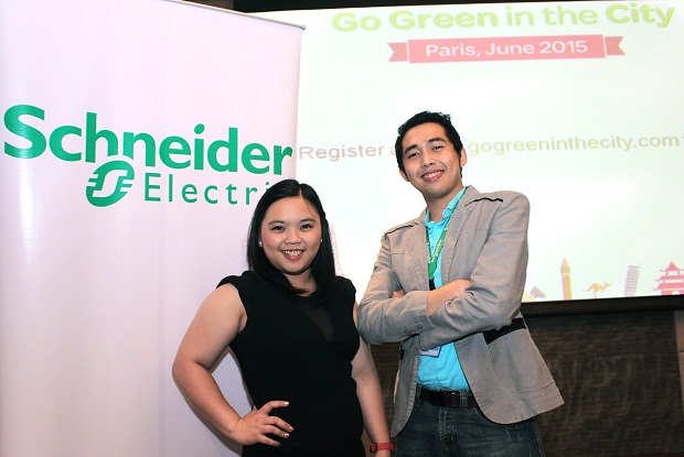 Alyssa Tricia Eloise Vintola and Lorenz Ray Payonga -- 2013 Go Green in the City Global winners and now graduate trainees for energy management solutions at Schneider Electric Philippines