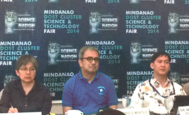 DOST sec. Mario G. Montejo is flanked by DOST undersecretary Carol Yorobe and regional director Anthony Sales during the Mindanao Cluster Science and Technology Fair at the SMX Convention Center in Lanang, Davao City