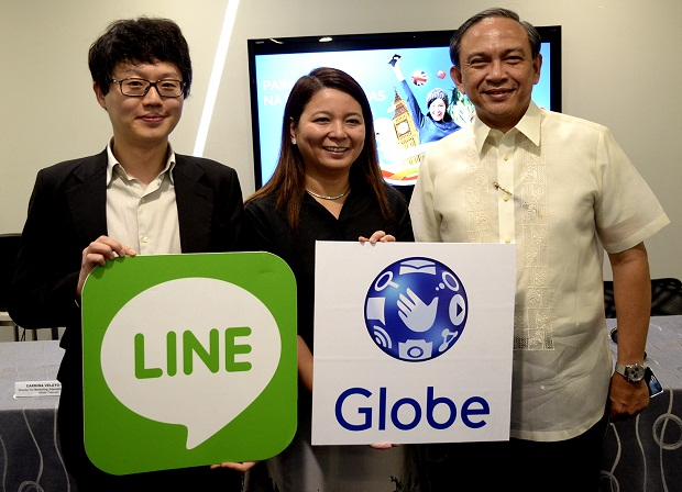 Photo shows (from left) Greg Kim, head of Line Philippines, Globe senior vice president for international business Rizza Maniego-Eala, and Globe executive vice president and chief operating officer Gil Genio