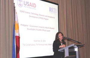 USAID mission director Gloria Steele addressed the multi-sector assembly and encouraged it to work together to improve the country's innovation capacity