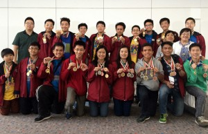The Philippine team members with their coaches show the medals they won in the India math contest