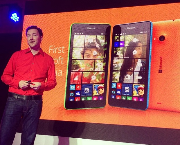 Karel Holub, general manager for the Philippines at Microsoft Mobile Devices Sales, introducing the new smartphones at the launch event in Bonifacio Global City