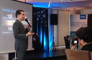 EMC Philippines country manager Ronnie Latinazo discussing the results of the survey