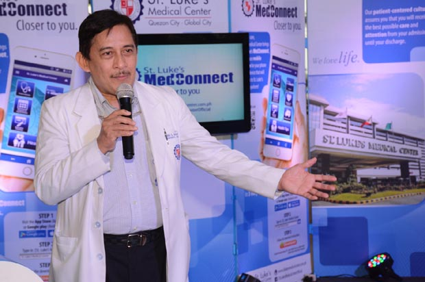 SVP and head of medical practice and medical director of St. Luke's-Global City Dr. Arturo S. dela Pe?a emphasizes the medical importance of St. Luke's first ever mobile application
