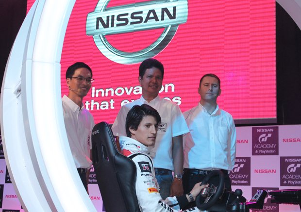 Nissan PH and GT Academy officials with GT Academy International Champion 2014 Ricardo Sanchez (seated)