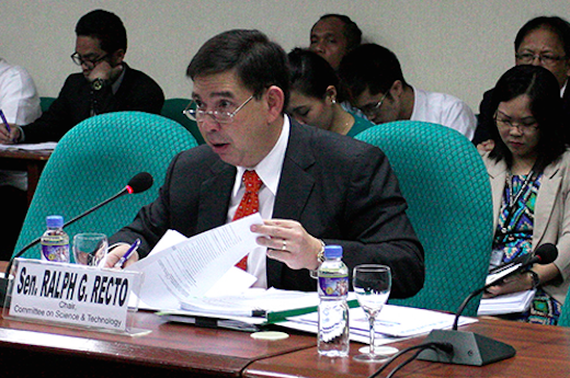 Sen. Ralph Recto during the most recent hearing on the DICT bill at the Senate