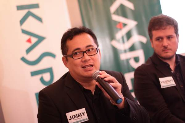 Jimmy Fong, Kaspersky Lab's channel sales director for Southeast Asia, answers questions from the media during the recent CyberSecurity Summit 2015 Event with principal security researcher Vicente Diaz.