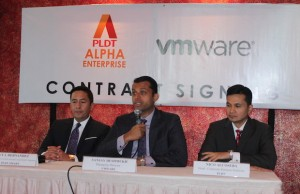 Photo shows (from left) Jovy Hernandez, head PLDT Alpha Enterprise, Sanjay Deshmukh, head of end-user computing business at VMware Asia Pacific and Japan, and Nico Alcoseba, head for corporate business solutions at PLDT