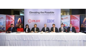 (From left to right) Nico Alcoseba, Head, corporate business solutions, PLDT; Kat Luna-Abelarde, first VP and head of PLDT SME Nation; Nerisse Ramos, COO, ePLDT; Eric Alberto, PLDT EVP and ePLDT president and CEO; Kellar Nevill, general manager, IBM ASEAN; Luis Pineda, IBM Philippines president and country general manager; Victor Silvino, IBM Asia Pacific cloud strategy and integration executive; and Steven Deskovic, director of sales & distribution for telecom and media industry, IBM Asia Pacific.