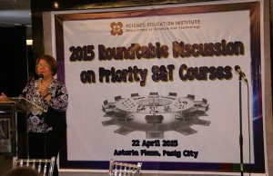 DOST Undersecretary for S&T Services, Dr. Rowena Cristina L. Guevara, addresses the importance of the roundtable discussion for developing new and effective strategies for S&T human resource development.