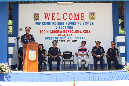 File photo from the PNP shows former PNP chief Nicanor Bartolome launching the e-blotter system in Camp Crame