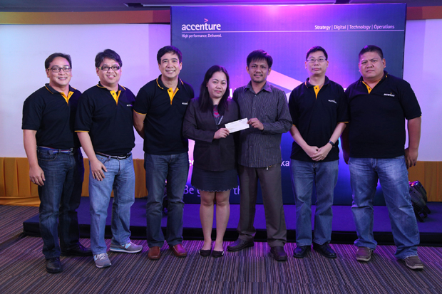 Seen in the photo from left are: Accenture Technology Leaders - Software Engineering Senior Manager Danny Honrado; Global Delivery Network (GDN) for Technology in the Philippines Avanade Delivery Managing Director Stephan Alba; GDN for Technology in the Philippines Digital Lead, Managing Director JP Palpallatoc; Tech Talks Hackathon champions Maria Imelda Pizarra and Argie Badua; Software Engineering Senior Manager Warren Yu; and Technology Architecture Senior Manager Dennis Lingga