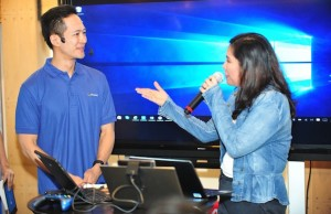 Gary Chan, head of Pan-Asia marketing for Microsoft Mobile, and Mae Moreno, Windows Lead for Microsoft Philippines, delivering Windows 10 product demo during the media launch