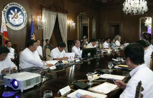 President Benigno S. Aquino III presides over the Neda board meeting at Malacañang on July 15
