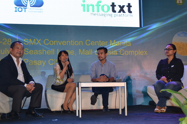 Emmy Lou Delfin, program manager of DOST-ICT Office's e-Innovation Group (2nd from left), together with (from left) Butch Valenzuela of Visaya KPO, Evan Tan of Freelancer.com and Olivia Briones of Upwork Philippines, answer questions during the Rural Impact Sourcing Forum at the SMX Convention Center in Pasay City during the National Science and Technology Week