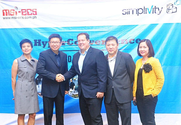 Photo shows (from left) Princess Ong Chua, GM and EVP, MSI-ECS Phils.; Jimmy D. Go, President and CEO, MSI-ECS Phils.; Scott Morris, vice president for Asia Pacific and Japan at SimpliVity; Dennis Sze, regional sales for Thailand and Philippines at SimpliVity; and Myra Valenzuela, sales and marketing manager for data technology group at MSI-ECS Phils.