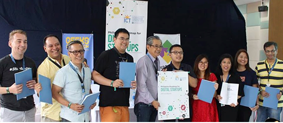 From left, Christian Besler, vice president and co-founder of Kickstart; Jojo Flores, vice president and co-founder, Plug and Play Tech Center; Jay Fajardo, co-founder and CTO of Medifi; Earl Valencia, president and founder, Ideaspace; Mon Ibrahim, deputy executive director, DOST-ICT Office; Karl VendellSatinitigan, director at Office of Sen. Bam Aquino; Beryl Li, senior consultant at DOST-ICT Office; Christina Laskowski, president, STAC-Silicon Valley; Tina Amper, founder of TechTalks.ph and instigator of GeeksOnABeach.com; and Arup Maity, president and CEO of Blastasia