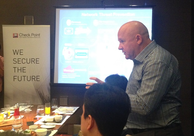 Steve McWhirter, vice president for Asia, Middle East and Africa at Check Point, during the press briefing in Makati City
