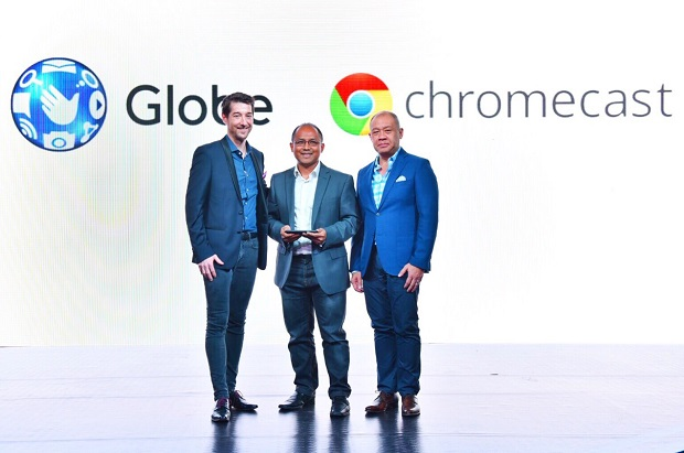 Launching Chromecast as a future offering from Globe with its home broadband plans are (L-R) Globe senior advisor for consumer business Dan Horan, Google Philippines country manager Kenneth Lingan, and Globe president and CEO Ernest Cu