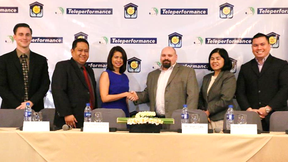 Photo shows (from left) Mike Lytle, Teleperformance executive vice president for operations, Robert John Cosico, Pag-IBIG Fund SVP for administrative services sector and chief legal counsel, Darlene Marie B. Berberabe, Pag-IBIG Fund president and CEO, Travis Coates, Teleperformance managing director, Ophelia Dela Cerna, deputy chief executive officer member services cluster, and Joseph Edward Dy, Teleperformance vice president for operations