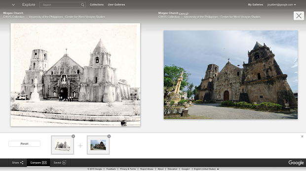 A comparison of Miag-ao Church then and today. On the left: Miagao Church (undated) and on the right: Miagao Church (2015), both from the CWVS Collection, University of the Philippines - Center for West Visayan Studies