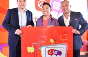 Photo shows (from left) Cherry Mobile CEO Maynard Ngu,celebrity endorser Michael V. and Globe Telecom CEO Ernest Cu