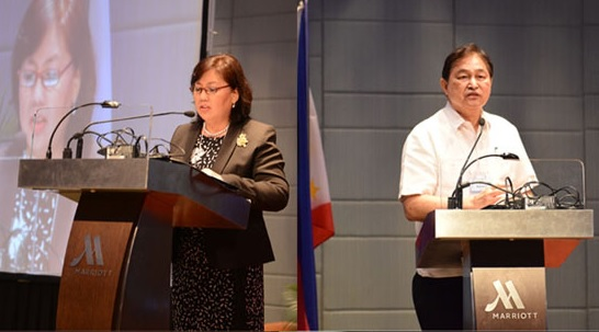 Newly appointed IPOPHL director-general Josephine R. Santiago welcomes guests and participants (left) during the event held in Pasay City. Retired SC justice Adolfo Azcuna delivers his keynote address (right)