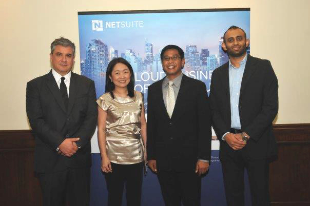 Photo shows (from left) James Dantow, NetSuite SVP for worldwide support and general manager for the Philippines; Jalu Go, director of operations for Microventures Inc. (Hapinoy);  Eugene Naguiat president and CEO at Motech; Reginald Singh, NetSuite VP and GM for Asia