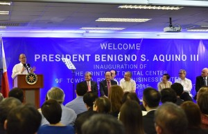President Aquino speaking during the launch event